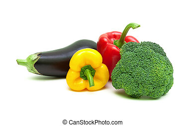 eggplant, bell peppers and broccoli isolated on white background