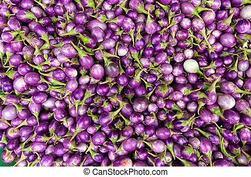 Eggplant bunch in a market