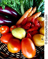 Eggplant, carrots and other vegetables in the basket