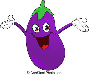 Cheerful cartoon eggplant raising his hands