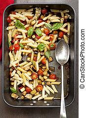 Eggplant Chilli and Tomato Pasta
