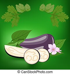 Eggplant. Healthy lifestile - Eggplant. Label, there is a...