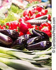 Eggplant in a Vegetable Market