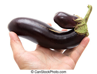 eggplant in his hand on a white background