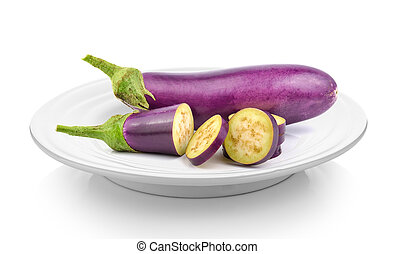 eggplant in plate on white background