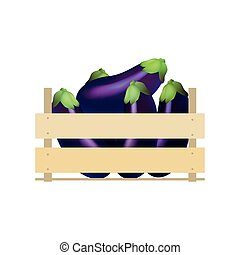 Eggplant in wooden crate. Vector illustration crate,  wooden,  background,  box,  container
