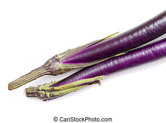 eggplant, long cultivar from Asia, stem close-up, isolated ...