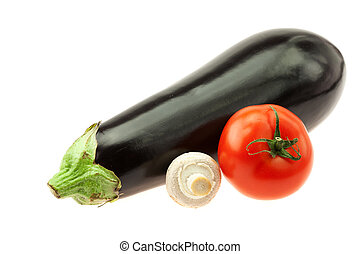eggplant, mushrooms and tomatoes isolated on white