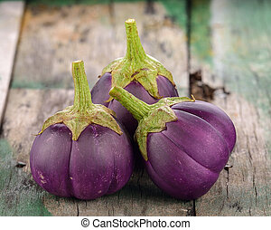 eggplant on old wooden