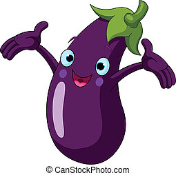 Cartoon cute Eggplant presenting something
