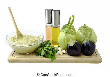 Eggplant puree salad and  ingredients