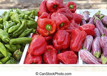 eggplant red pepper green peppers on market store