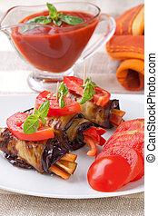 Eggplant rolls stuffed with pepper