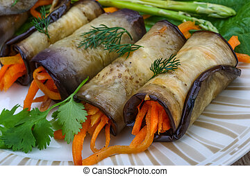Eggplant rolls with carrot