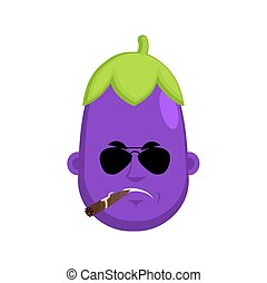 Eggplant Serious emotion face avatar. Purple Vegetable with cigar emoji. Vector illustration