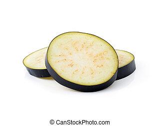 Eggplant slices isolated on white background