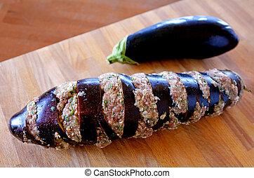 Eggplant stuffed with mince
