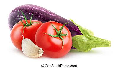 Eggplant, tomato and garlic isolated on white background