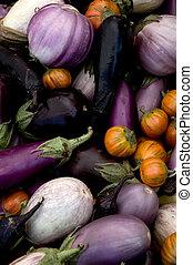 Multi-colored eggplant varieties at the farmers' market