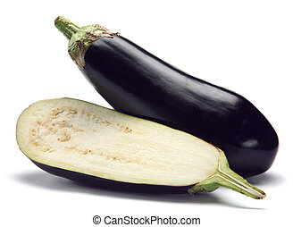 Eggplant vegetable closeup with shadow on white