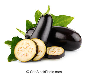 eggplant vegetable fruits with cut isolated on white background