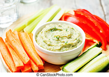 eggplant White bean dip with vegetables. toning. selective...