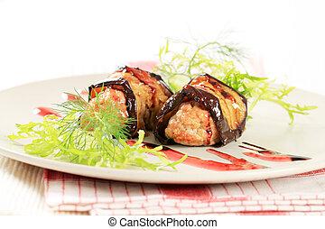Eggplant wrapped meatballs