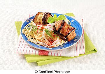 Eggplant wrapped meatballs with spaghetti