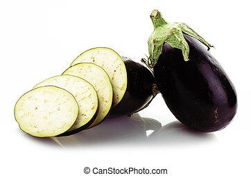eggplant,aubergine sliced vegetable on the white background