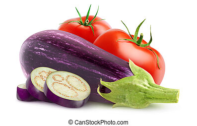 Eggplants and tomatoes isolated on white