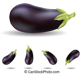 eggplants - eggplant isolated on white close up and in...