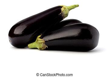 eggplants isolated on white background close up