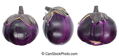 Eggplants Isolated with clipping path on a white background.