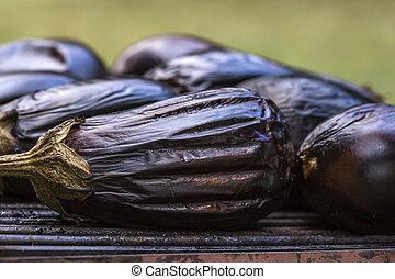 Eggplants on grill