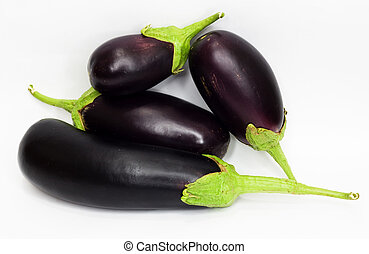 Eggplants on white with clipping path