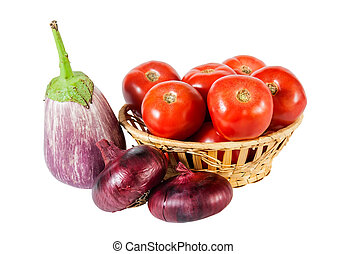 Eggplants, onion and tomatoes isolated on white background