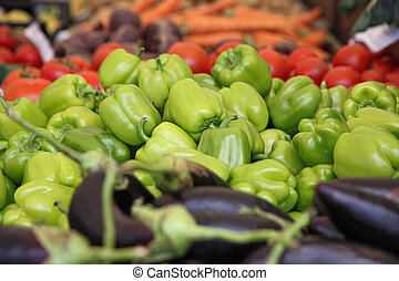 Eggplants,green bell peppers and other vegetables