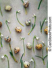 eggs, задний план, перепел, цветы, пасха, подснежник