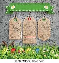 Eggs 3 Carton Price Stickers Ribbon Concrete Grass