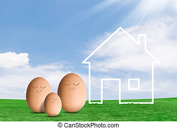Eggs and a house in field