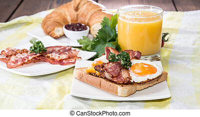 Eggs and Bacon - Eggs, Bacon, Croissant and Orange Juice