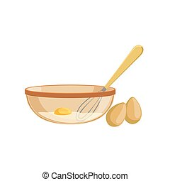 Eggs And Bowl Baking Process  Kitchen Equipment Isolated Item