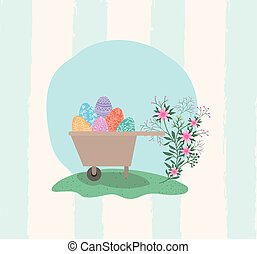 eggs and flowers in wheelbarrow