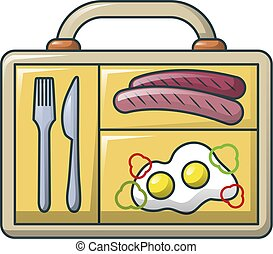 Eggs and sausage icon, cartoon style