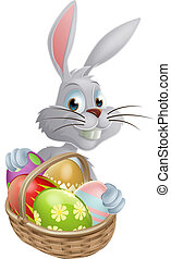 Eggs basket white Easter bunny - A white Easter bunny rabbit...