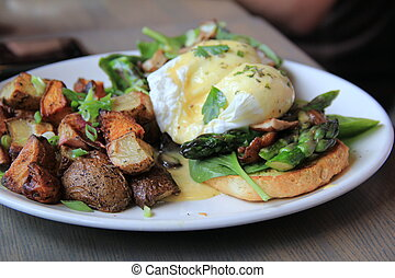 Eggs Benedict with two poached eggs - Eggs Benedict style...