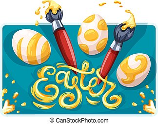 eggs., card., 絵, 挨拶, vector., 休日, イースター
