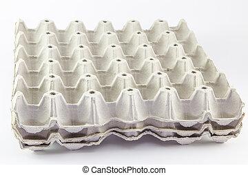Eggs carton box on white background