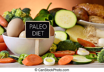 eggs, chicken, vegetables and text paleo diet - closeup of a...