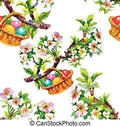 eggs., coloridos, padrão, paper., seamless, ilustração, mão, aquarela, textura, desenhado, branca, páscoa